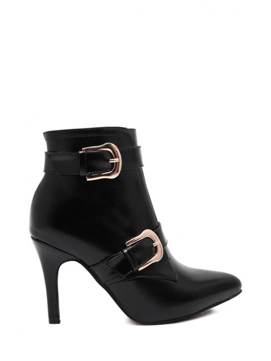 outfit Metallic Buckle Stiletto Zipper Ankle Boots - BLACK 34