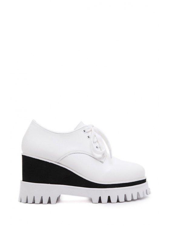 online Color Matching Lace-Up Platform Shoes - WHITE 35