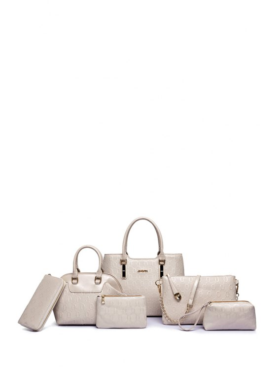 womens Embossing Solid Color Letter Tote Bag - OFF-WHITE