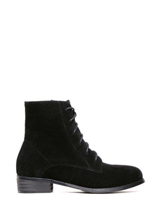 buy Lace-Up Pure Color Suede Combat Boots - BLACK 35