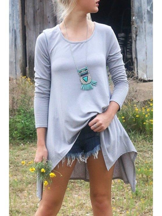women Round Neck Long Sleeve Irregular T-Shirt - GRAY S
