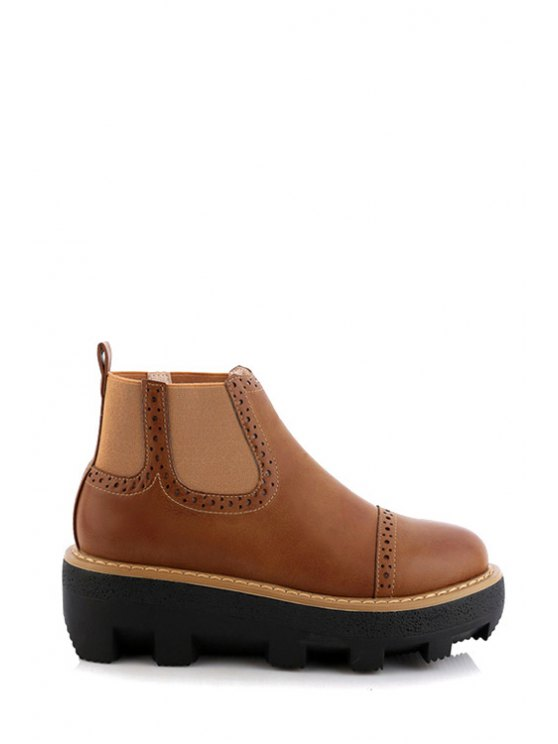 chic Elastic Solid Color Engraving Platform Shoes - BROWN 35