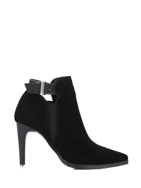 outfit Buckle Pointed Toe Suede High Heel Boots - BLACK 35