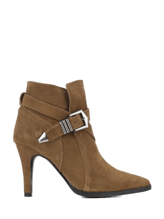 buy Cross Straps Buckle Suede Short Boots - DEEP BROWN 35