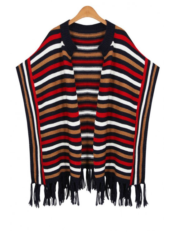 outfits Batwing Sleeves Striped Loose Fitting Cape Cardigan - COLORFUL ONE SIZE(FIT SIZE XS TO M)