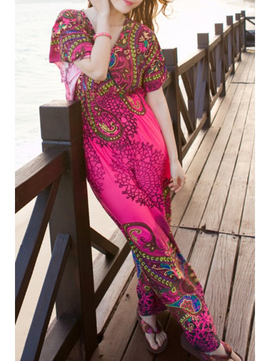 sale Ethnic Print V Neck Short Sleeve Maxi Dress - ROSE ONE SIZE(FIT SIZE XS TO M)