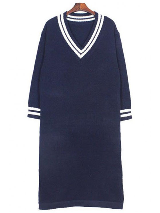 lady Plunging Neck Long Sleeves Side Slit Sweater Dress - DEEP BLUE ONE SIZE(FIT SIZE XS TO M)