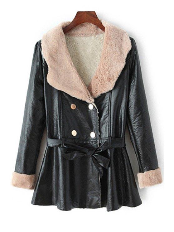 fancy Fleece Lining PU Leather Coat With Belt - BLACK M