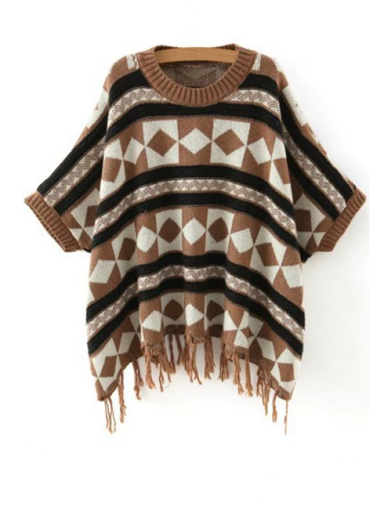 latest Batwing Sleeve Fringed Jacquard Sweater - COFFEE ONE SIZE(FIT SIZE XS TO M)
