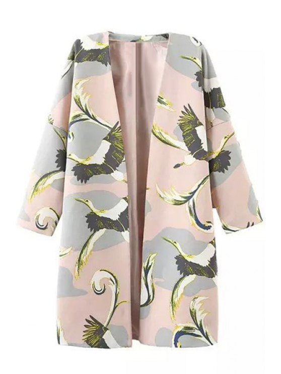 sale 3/4 Sleeve Bird Print Trench Coat - PINK S
