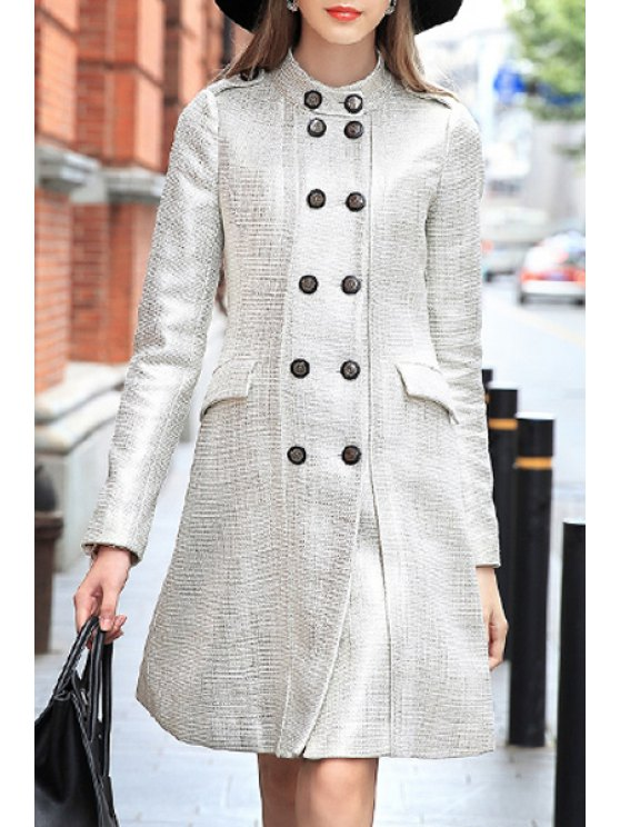 hot Double-Breasted Stand Neck Long Sleeve Coat - LIGHT GOLD S