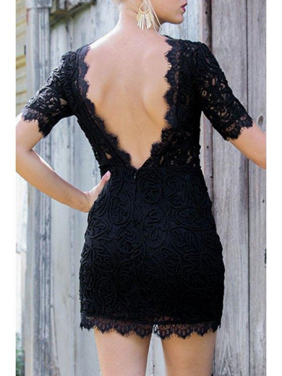 best Lace Backless Round Neck Short Sleeve Dress - BLACK S