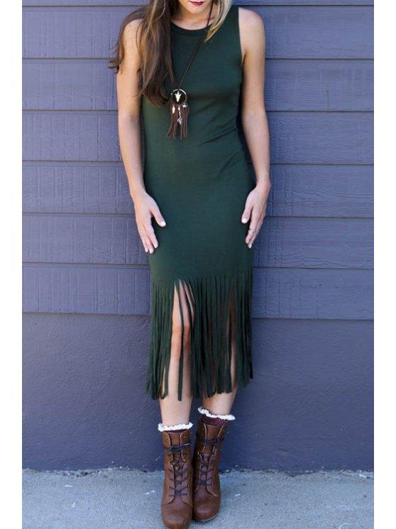 shop Tassels Sleeveless Bodycon Dress - GREEN S