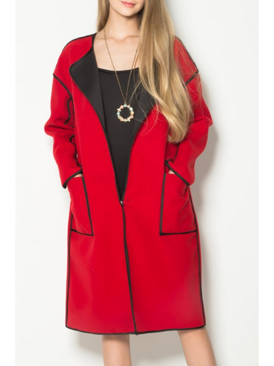 fashion Pocket Red Turn-Down Collar Long Sleeves Coat - RED XS