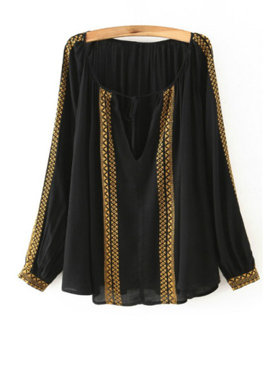 chic Long Sleeve Embroidered Fall Top - BLACK S