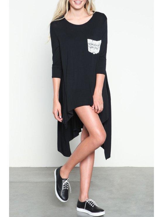 outfit 3/4 Sleeve Irregular Hem Dress - BLACK S