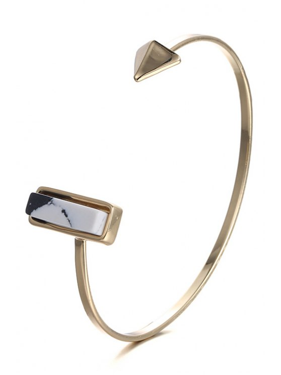 trendy Alloy Geometric Cuff Bracelet - GOLDEN