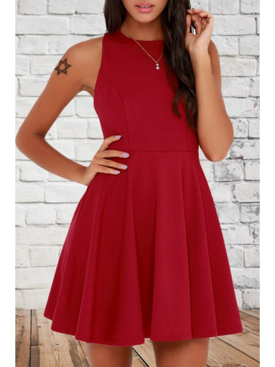 new Pure Color Round Neck Sleeveless Flare Dress - RED S