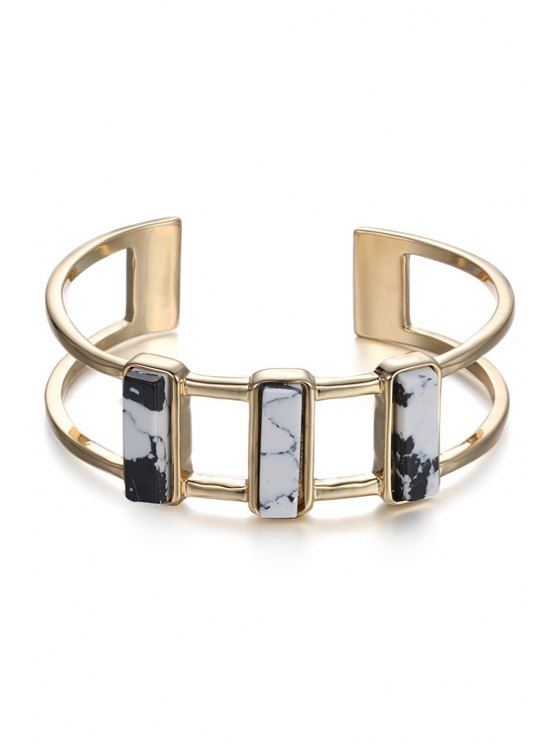 fashion Geometric White Turquoise Hollow Out Cuff Bracelet For Women - GOLDEN