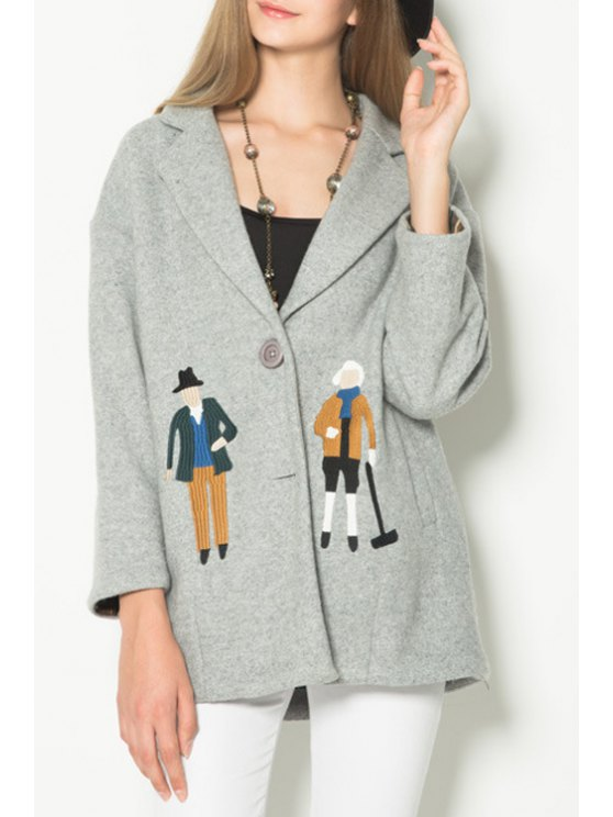 best Cartoon Print Lapel Collar Long Sleeves Cute Coat - LIGHT GRAY XS
