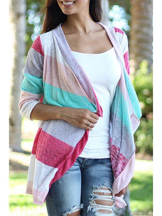 womens 3/4 Sleeve Color Block Thin Coat - COLORMIX S