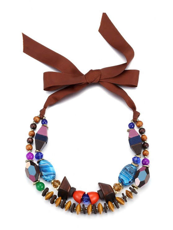 lady Faux Crystal Beads Double-Layered Necklace For Women - COLORFUL