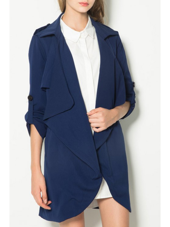 trendy Bow Sashes Turn-Down Collar Solid Color Trench Coat - CADETBLUE XS