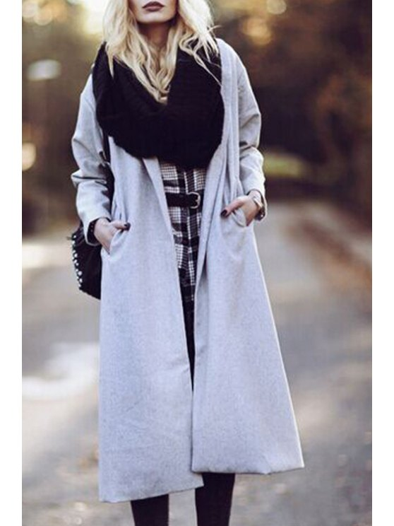 buy Gray Turn Down Collar Worsted Coat - GRAY S