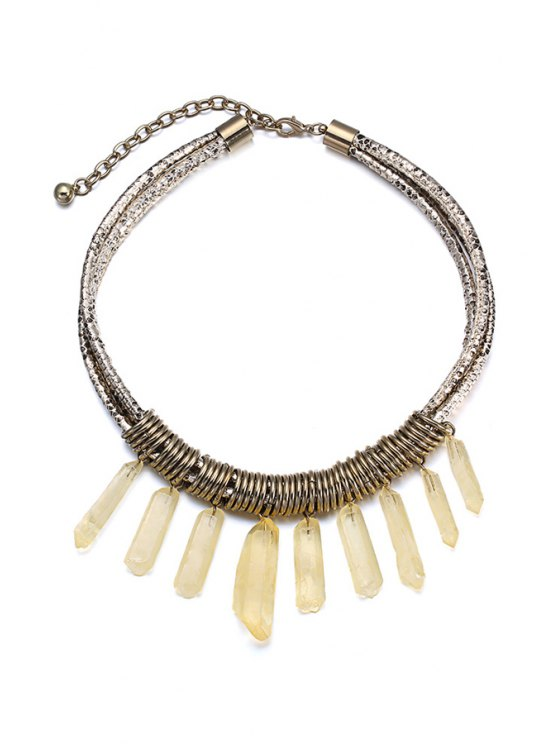 shops Resin Tassel Faux Leather Layered Necklace For Women - COPPER COLOR