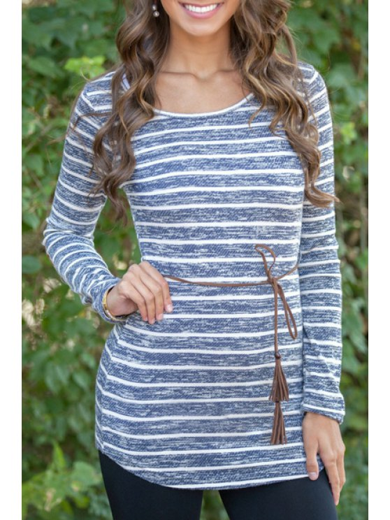 outfits Round Neck Long Sleeve Striped T-Shirt - LIGHT BLUE S