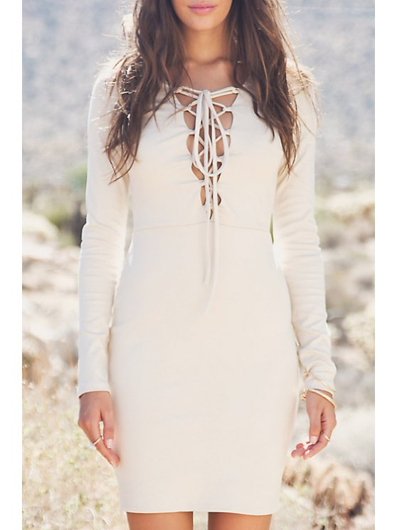shop Plunging Neck Lace-Up Bodycon Dress - OFF-WHITE S