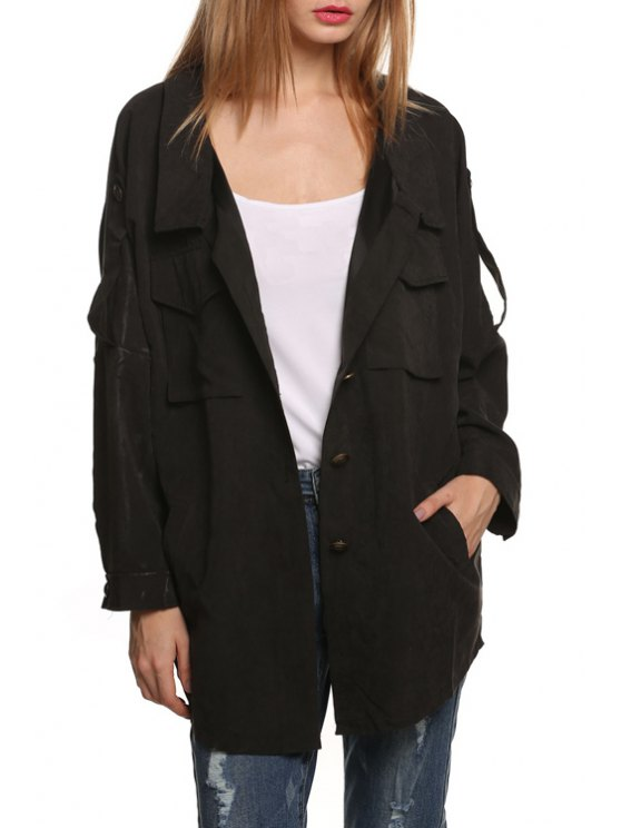 new Turn Down Collar Pocket Trench Coat - BLACK S