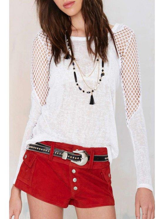 womens Hooded Mesh Design T-Shirt - WHITE XL