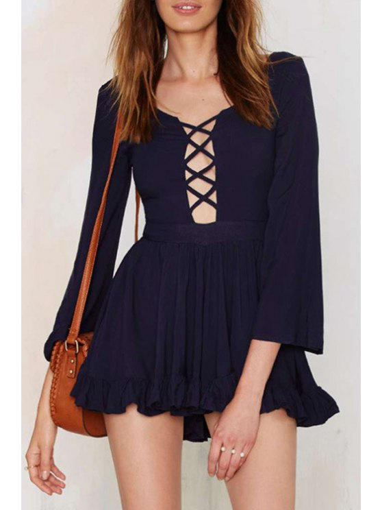 online Plunging Neck Bell Sleeve Ruffled Dress - BLACK XS