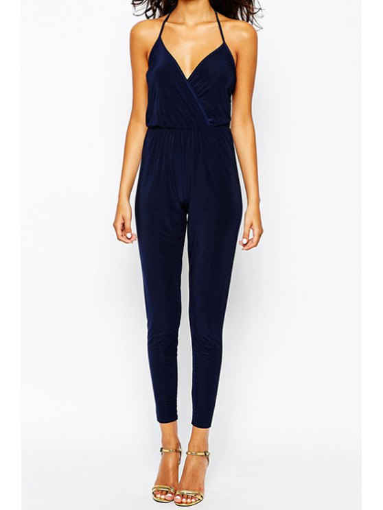 chic Sleeveless Blue Narrow Feet Jumpsuit - BLUE XS