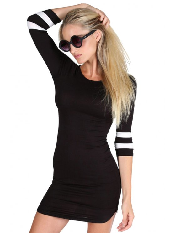 sale 3/4 Sleeve Striped Bodycon Dress - BLACK XS
