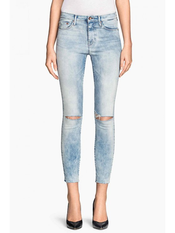 new Bleach Wash Ripped Pencil Jeans - BLUE XS