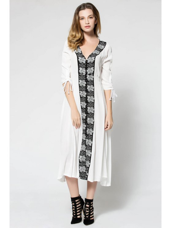 outfits Floral Embroidery 3/4 Sleeve Maxi Dress - WHITE S