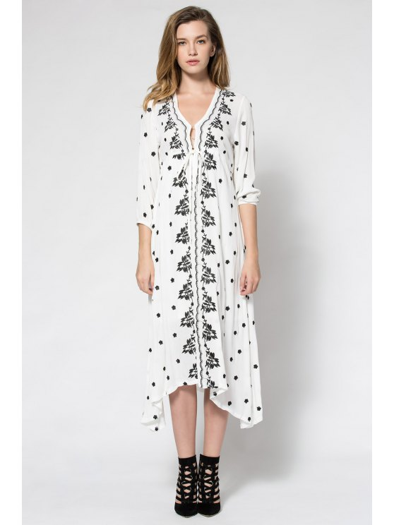 lady Tiny Floral Embroidery Tie-Up 3/4 Sleeve Dress - WHITE S