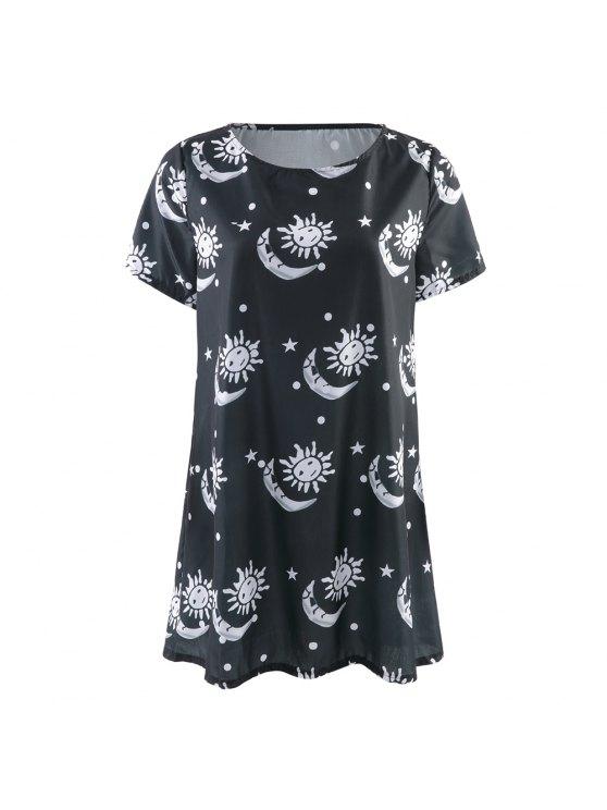 online Sun and Moon Print Short Sleeve Dress - BLACK S