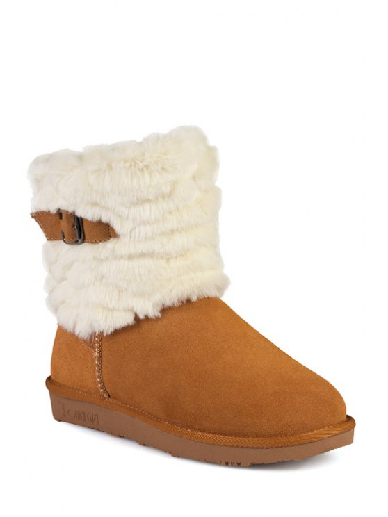 fancy Pure Color Buckle Plush Snow Boots - MAROON 35