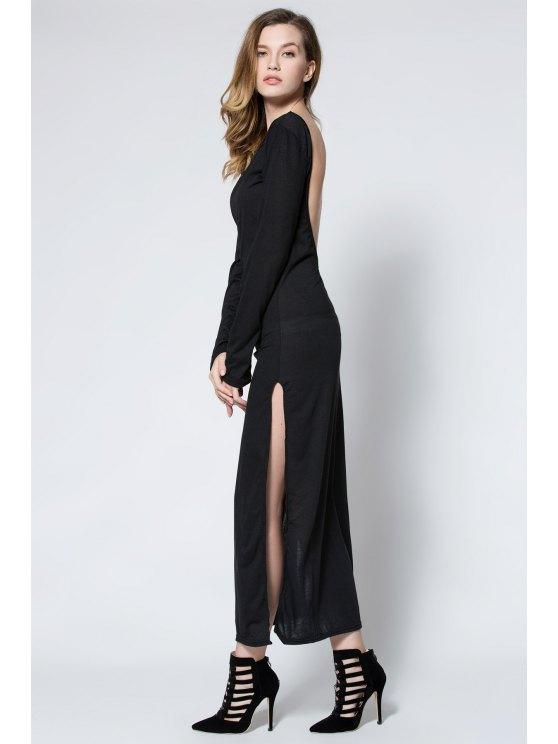 Low Back High Slit Maxi Dress - BLACK M Mobile