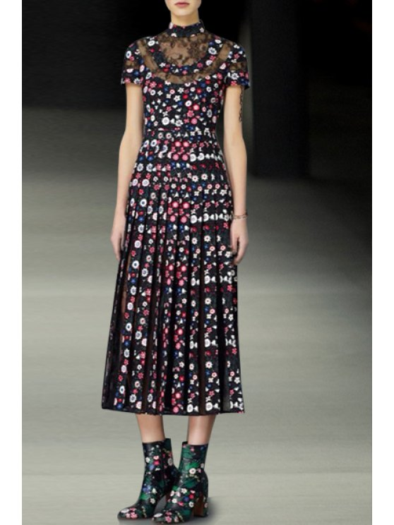 latest See-Through Tiny Floral Pleated Dress - WINE RED S