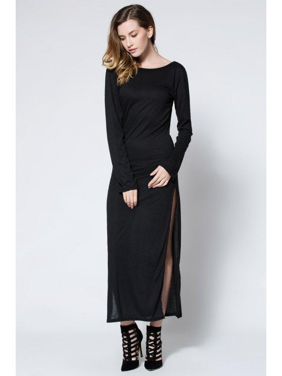 Maxi Vestido con Abertura Alta con Espalda Baja - Negro L