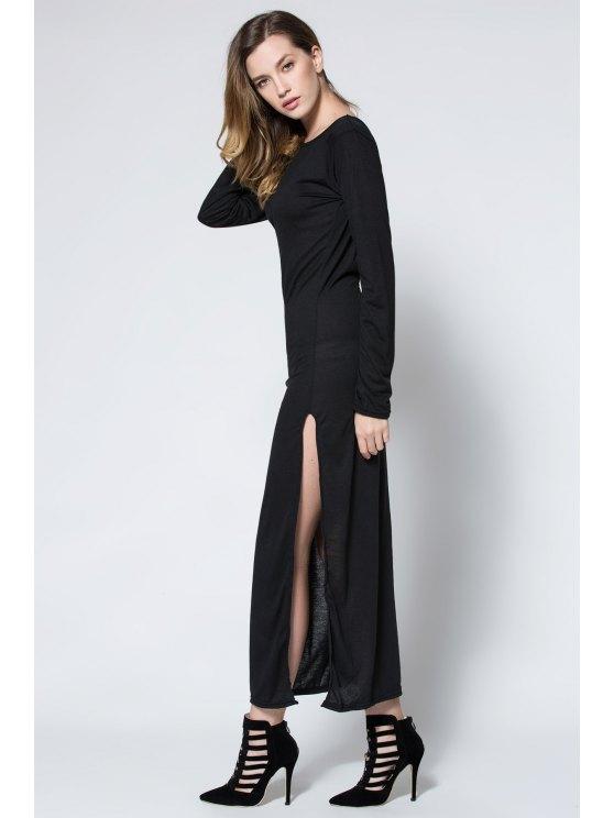 Low Back High Slit Maxi Dress - BLACK L Mobile