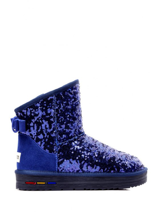 lady Sequined Bow Solid Color Snow Boots - BLUE 40