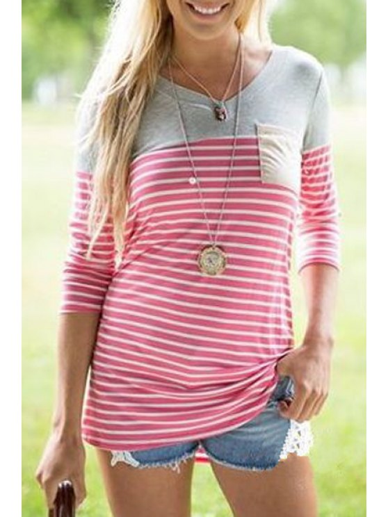trendy Round Neck 3/4 Sleeve Patchwork T-Shirt - RED S
