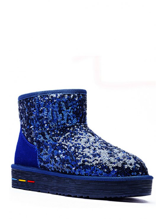 fancy Solid Color Splicing Sequined Snow Boots - BLUE 35