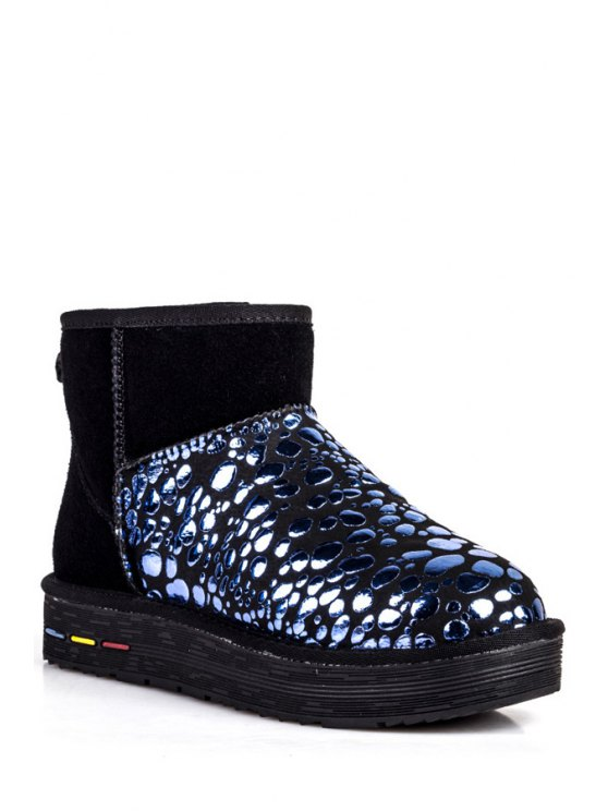 lady Bubble Pattern Suede Splicing Snow Boots - BLUE 35