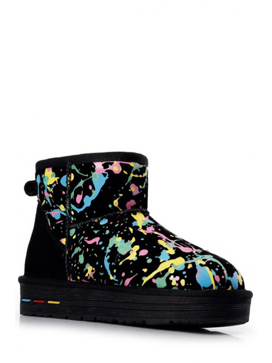 women Graffiti Suede Color Matching Snow Boots - BLACK 37